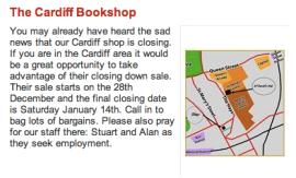 EMW Bookshops Newsletter, December 2011: Cardiff bookshop closing