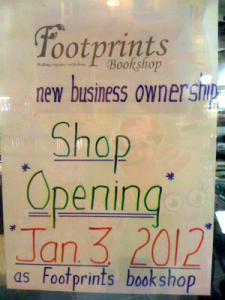 New business ownership: Shop Opening Jan 3 2012 as Footprints Bookshop