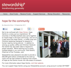 Hope for the Community: Stewardship awards The Hope Centre a £20k start-up grant