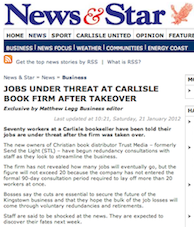 News & Star, Carlisle, 21/1/2012: Job Under Threat at Carlisle Book Firm after Takeover
