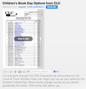 CLC Wholesale: Suggestions for World Book Day 2012