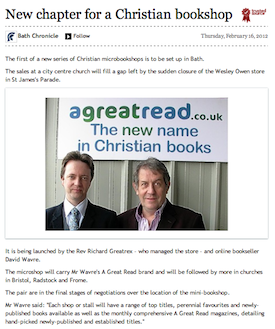 Bath Chronicle, 16/02/2011: New chapter for a Christian bookshop