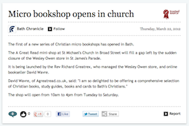 Bath Chronicle, 22/3/2012: Microbookshop opens in church