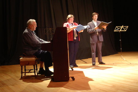 James Douglas, Katherine Douglas and soloist Richard Mein in concert, 2009, Macphail Theatre, NW Scotland