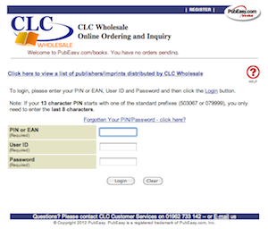 CLC Wholesale: PubEasy Login Page