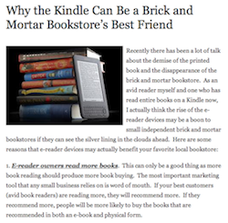 Why the Kindle Can Be a Brick and Mortar Bookstore's Best Friend