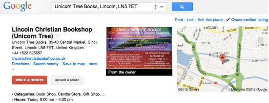 Google Place Page: Owner-verified listing for Unicorn Tree Books, Lincoln