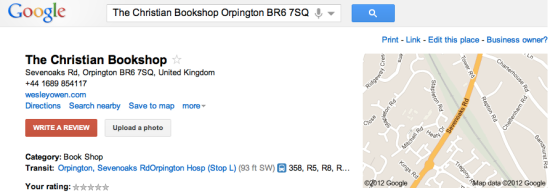 Google Place Page: Unverified listing for the Christian Bookshop, Orpington