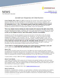 Press Release, 17/4/2012: Zondervan Expands UK Distribution
