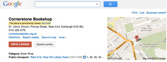 "Google Place Page: Cornerstone Books, Edinburgh - ""This place is permanently closed"""