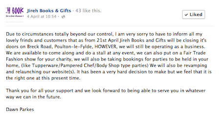 Facebook announcement from Jireh Books and Gifts, 4/4/2012: Down but not out