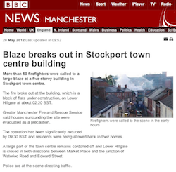 BBC News, Manchester: Blaze breaks out in Stockport town centre building