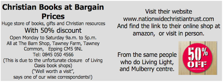Christian Books at Bargain Prices: The Barn Shop, as advertised by Hertford Baptist Church, January 2012