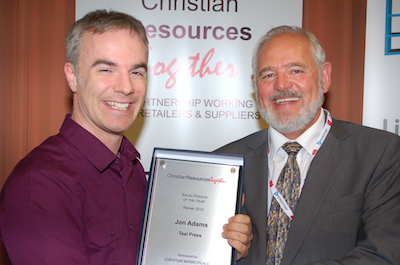 Sales Person of the Year Award presented to Jon Adams (left) by Clem Jackson