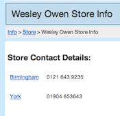Wesley Owen Store Info