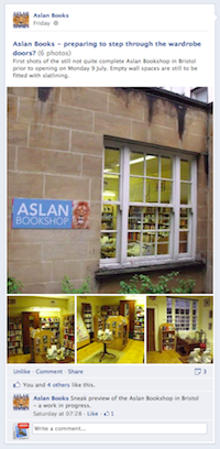 Aslan Books, Bristol: facebook photos - Preparing to step through the wardrobe door?