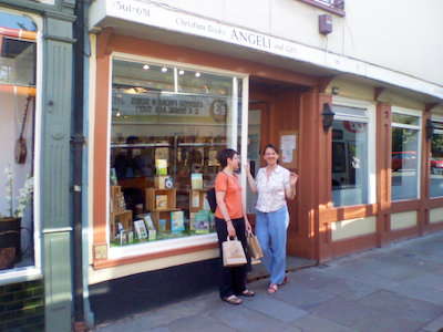 Sue and Ivona outside Angeli Christian Books and Gifts