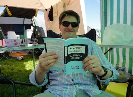 Tim Nutt, husband of the Revd Angi Nutt, spotted reading CHSG at New Wine 2012 (Photo courtesy of Alastair Walton)