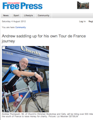 Doncaster Free Press, 3/8/2012: Andrew saddling up for his own Tour de France journey