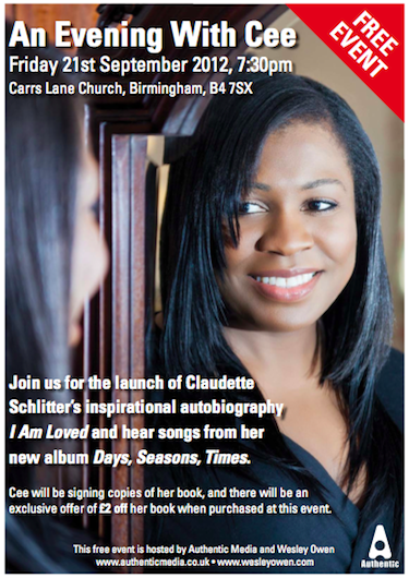An Evening With Cee: Friday 21st Sept, 7.30pm at Carrs Lane Church, Birmingham