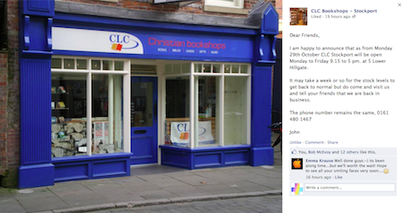 Facebook announcement: CLC Stockport reopening 9.15am Monday 29th Oct 2012