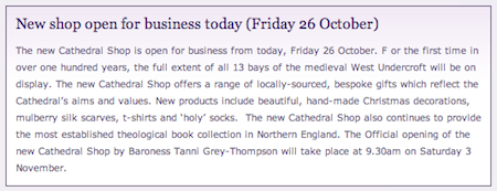 Durham Cathedral: New shop open for business today (Friday 26 October)
