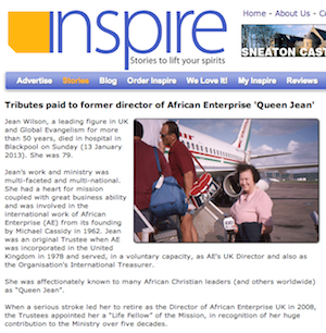 Inspire Magazine: Tributes paid to former director of African Enterprise 'Queen Jean'