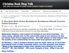 Christian Book Shop Talk: If Churches Want Online Bookstores, Bookstores Should Promote Online Churches
