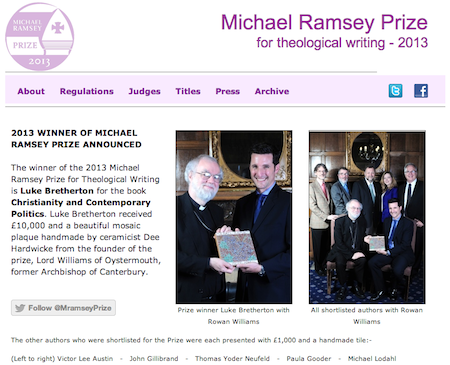 Luke Bretherton announced as Winner of the Michael Ramsey Prize 2013