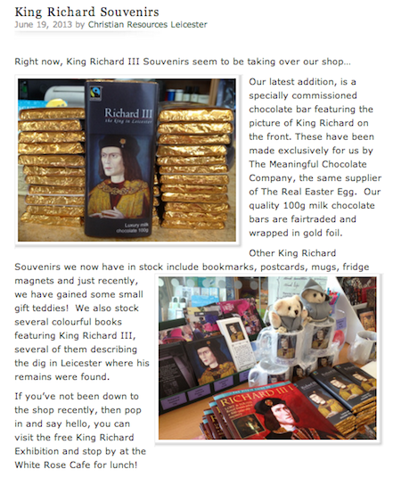 King Richard III Souvenirs at Christian Resources Leicester
