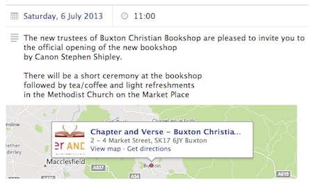 The Opening, Sat 6th July 2013: The new trustees of Buxton Christian Bookshop are pleased to invite you to the official opening of the new bookshop by Canon Stephen Shipley.