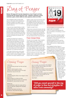 Day of Prayer : Together magazine Aug/Sept 2013, p.20 (pdf, 123kb)