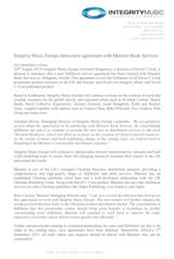 Distribution Update: Integrity Music Europe (David C Cook) join Marston Book Services