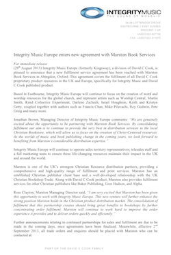 Press Release 29th August 2013: Integrity Music Europe enters new agreement with Marston Book Services (pdf, 184kb)