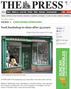 York Press, 25/10/2013: York bookshop to close after 53 years