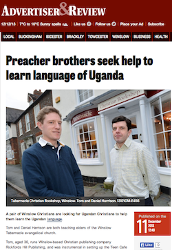 Buckingham Today Advertiser & Review, 11/12/2013: Preacher brothers seek help to learn language of Uganda