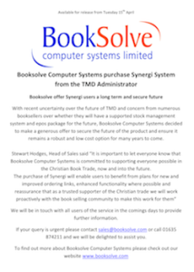 BookSolve Press Release, 15/4/2014: Booksolve Computer Systems purchase Synergi System  from the TMD Administrator (pdf, 82kb)