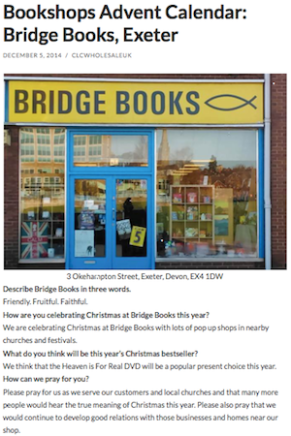 CLC Wholesale Bookshops Advent Calendar 5th Dec 2014: Bridge Books, Exeter