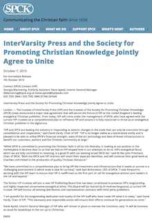 IVP/SPCK Press Release, 7/10/2015: InterVarsity Press and the Society for Promoting Christian Knowledge Jointly Agree to Unite
