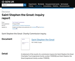 Saint Stephen the Great: Inquiry report